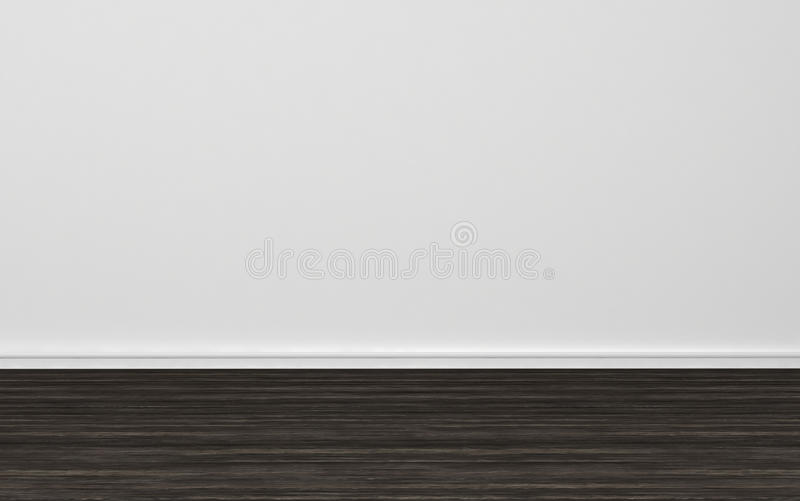 Empty Room With Plain White Wall And Wood Floor Stock