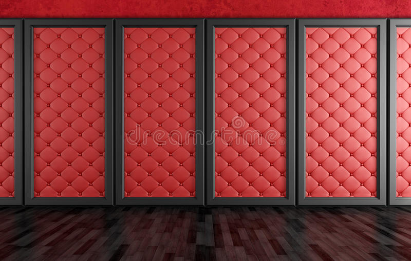 Empty Room With Red Upholstered Panels Royalty Free Stock Images