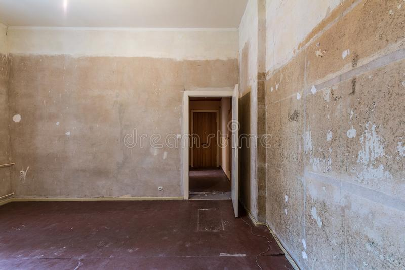 Empty room before renovation - renovating apartment -. Real estate interior before restoration stock photos