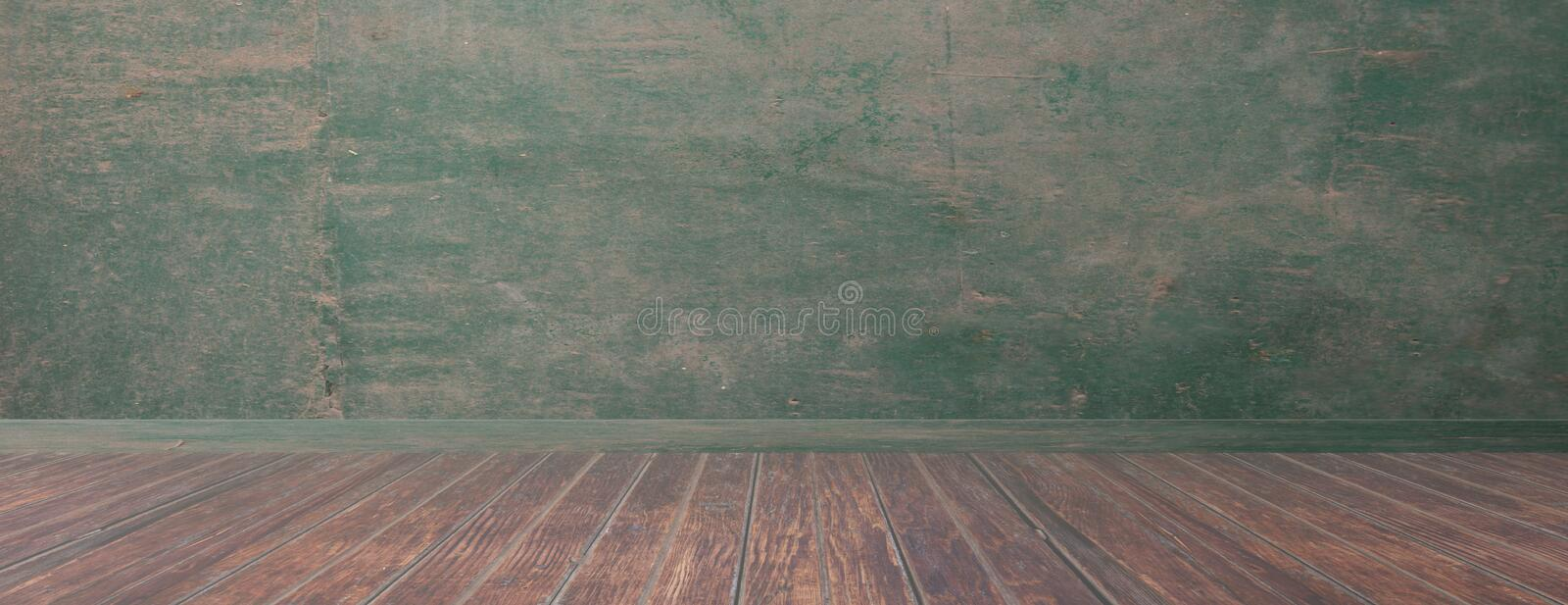 Empty room, rustic wood floor and green wall, banner, copy space. 3d illustration vector illustration