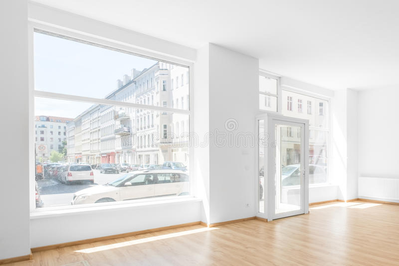 Empty room, shop interior with shopping window royalty free stock photos