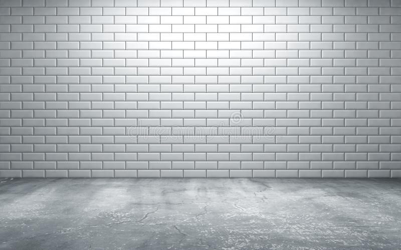 Empty room with tiles on wall and concrete floor royalty free illustration