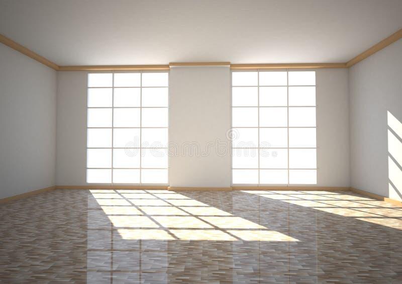 Empty Room Two Windows Stock Illustration Illustration Of
