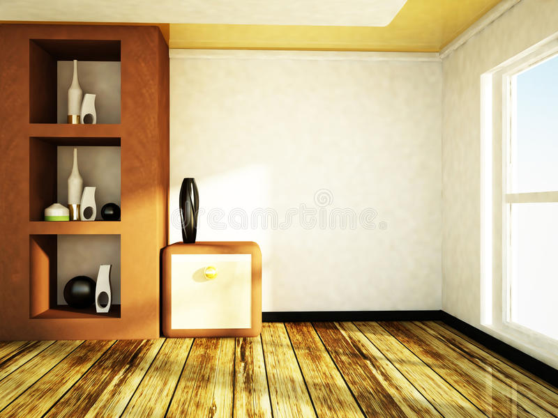 Empty Room With A Vanity Stock Illustration