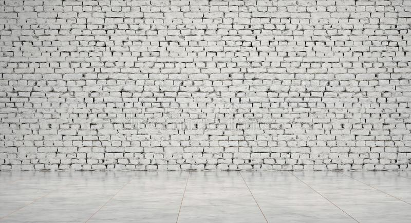 Empty room, waiting lobby, with white brick walls and marble floor, 3d Rendering stock photos