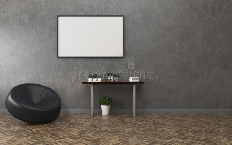 Empty room with white board and table. Comfort space in condominium. Classic interior design. -3d rendering royalty free illustration