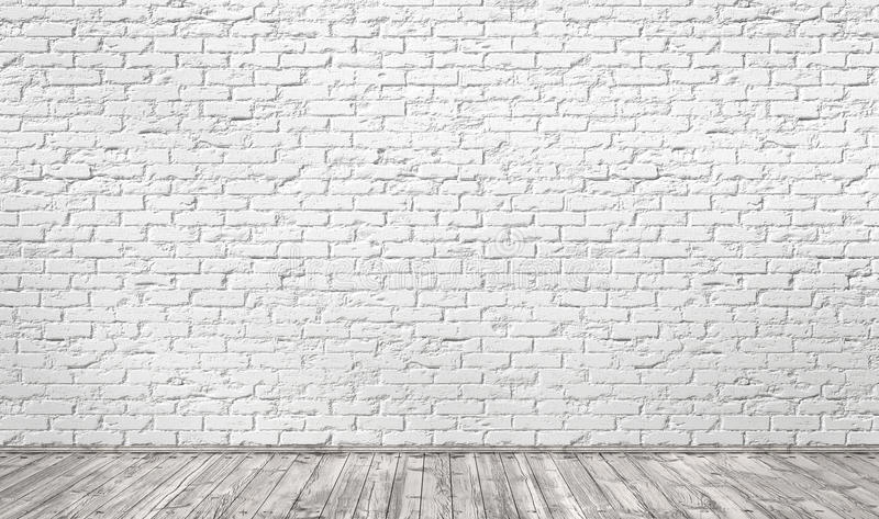 Empty Room With White Brick Wall And Wooden Floor Stock Illustration Illustration Of Sparse Simplicity 81006076
