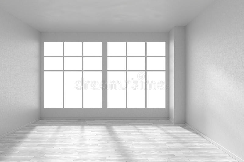 Empty Room With White Parquet Floor, Textured White Walls And Bi ...