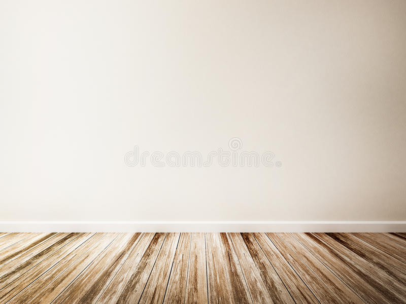 Empty room of white wall and wood floor stock images
