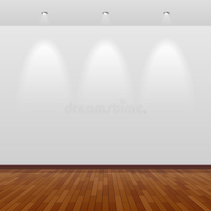 Empty room with white wall and wooden floor royalty free illustration