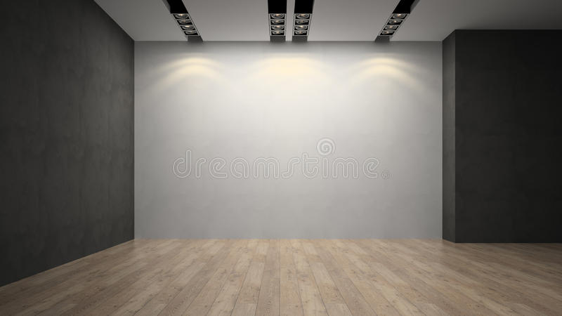 Empty room whith white wall stock photo