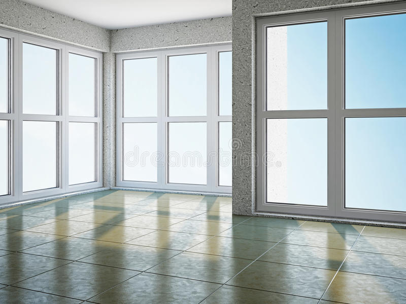 Empty room with window vector illustration