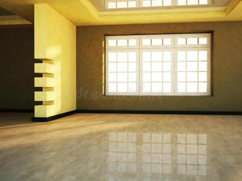 Empty room with the window stock illustration