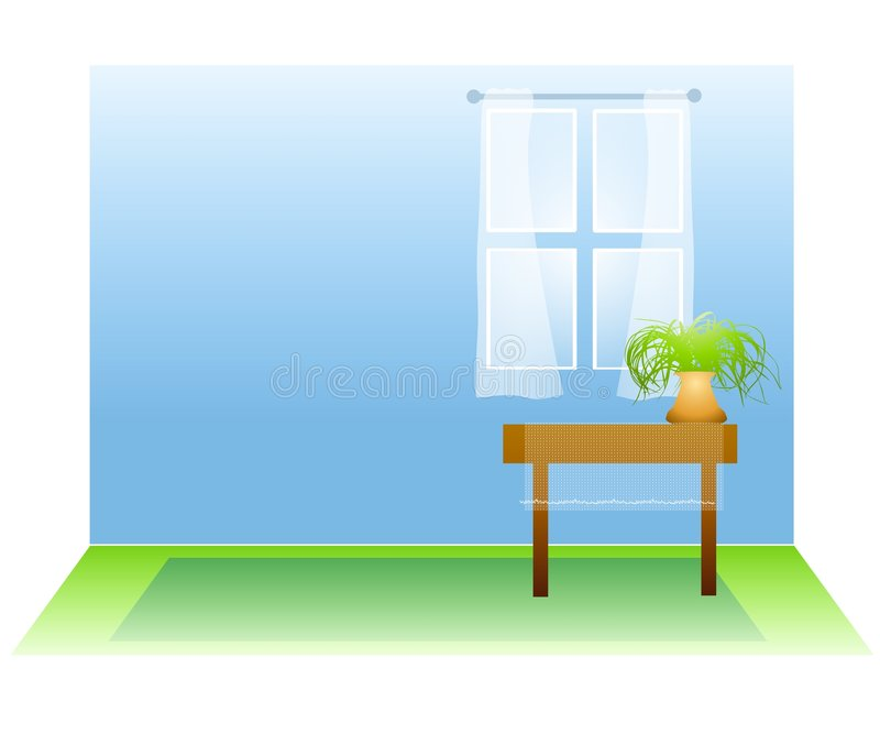 Empty Room With Window and Plant royalty free illustration