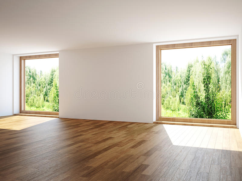 Empty room. The empty room with windows stock illustration