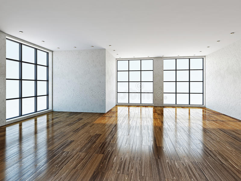 Empty room with windows vector illustration