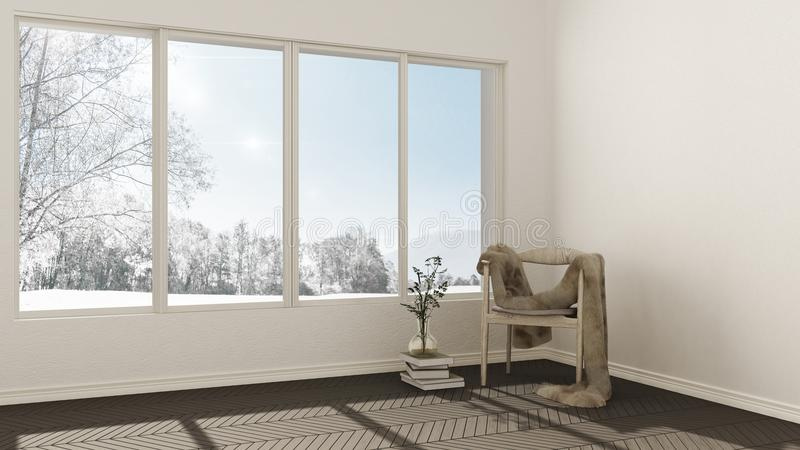 Download Empty Room With Wooden Chair Fur Couch And Large Window Wit Stock Illustration