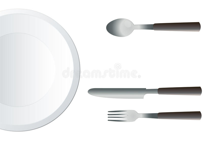 Empty Round Plate with Fork and Knife illustration vector royalty free illustration