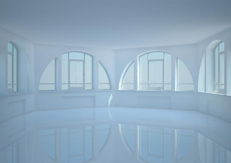 Download Empty Round Room With Big Arched Windows Stock Illustration - Illustration of digital, abstract: 24902335