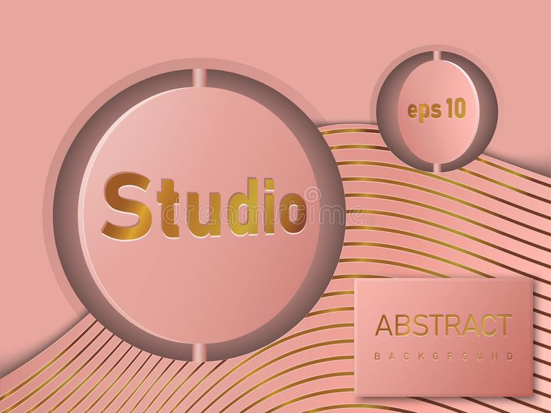 Empty round rotating studio spaces in the grooves. Free space for product presentation. Vector illustration. vector illustration