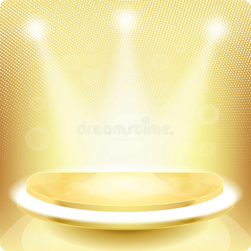 Free Empty Round Shelf For Exhibition.3d. Metal, Gold Royalty Free Stock Images - 51918499