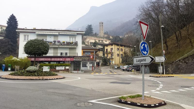 Empty roundabout and architectural view of Lugano royalty free stock image