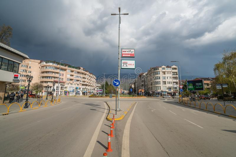 Empty roundabout in Ohrid town centre royalty free stock photos