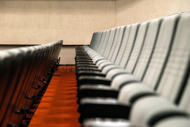 Empty rows of comfortable seats cinema or theater stock photo