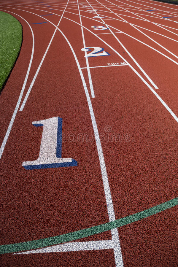 Empty Running Track. With Lane Numbers stock images