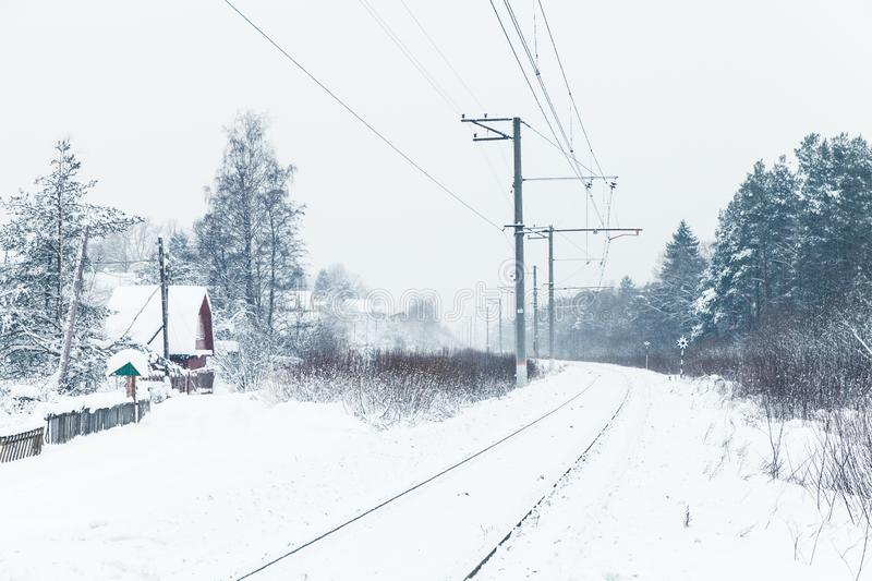 Empty rural railway, Russian countryside stock photography