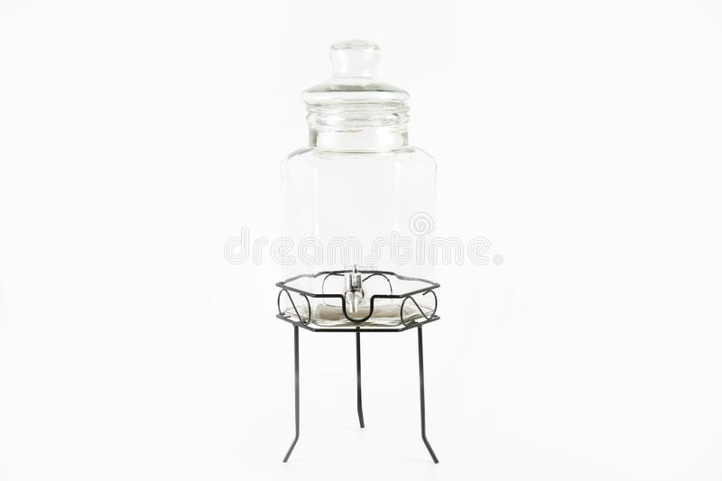 Empty Russian glass samovar isolated on a white background. An empty Russian glass samovar isolated on a white background royalty free stock images