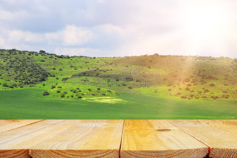 Empty rustic table in front of countryside background. product display and picnic concept. Empty rustic table in front of countryside background. product stock photography