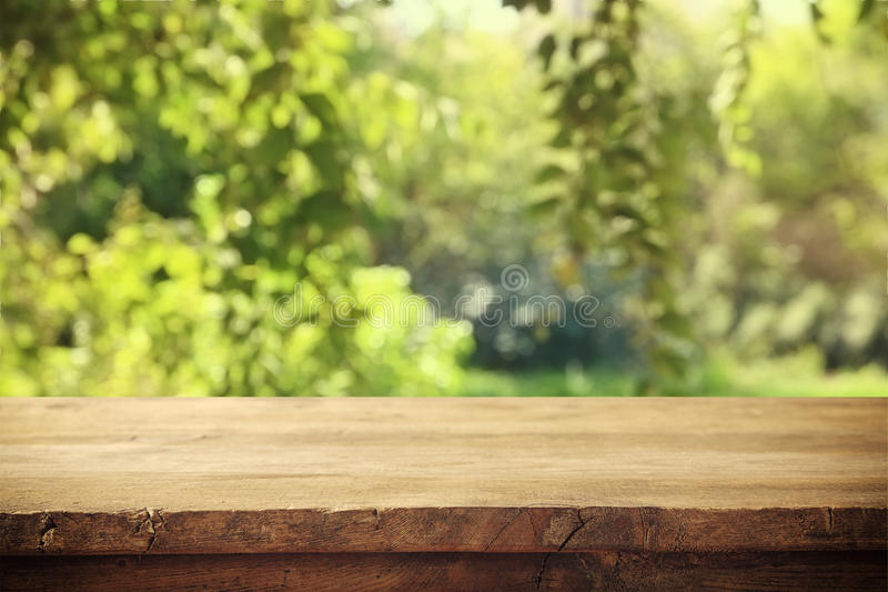 Empty rustic table in front of countryside background royalty free stock photography