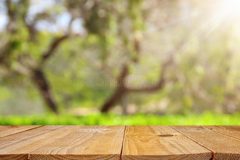Empty rustic table in front of green spring abstract bokeh background. product display and picnic concept. Empty rustic table in front of green spring abstract stock images