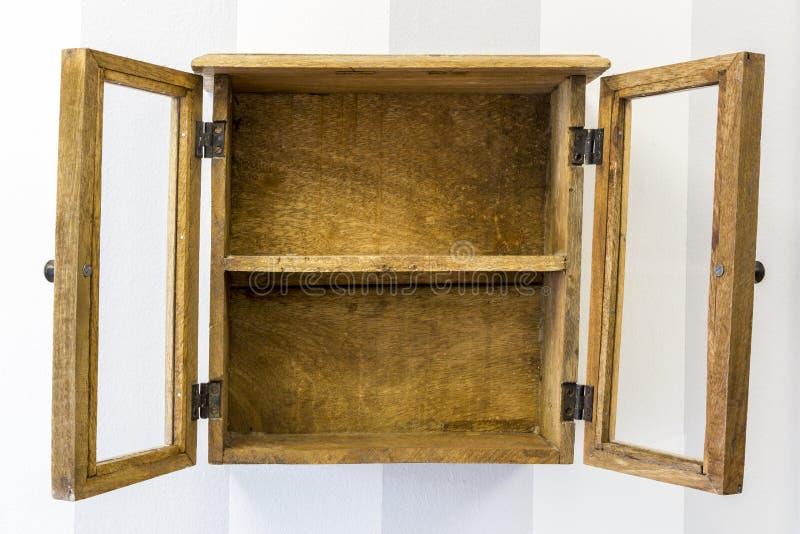 Download Empty Rustic Wall Mounted Display Cabinet, Horizontal. Stock Photo    Image Of Horizontal