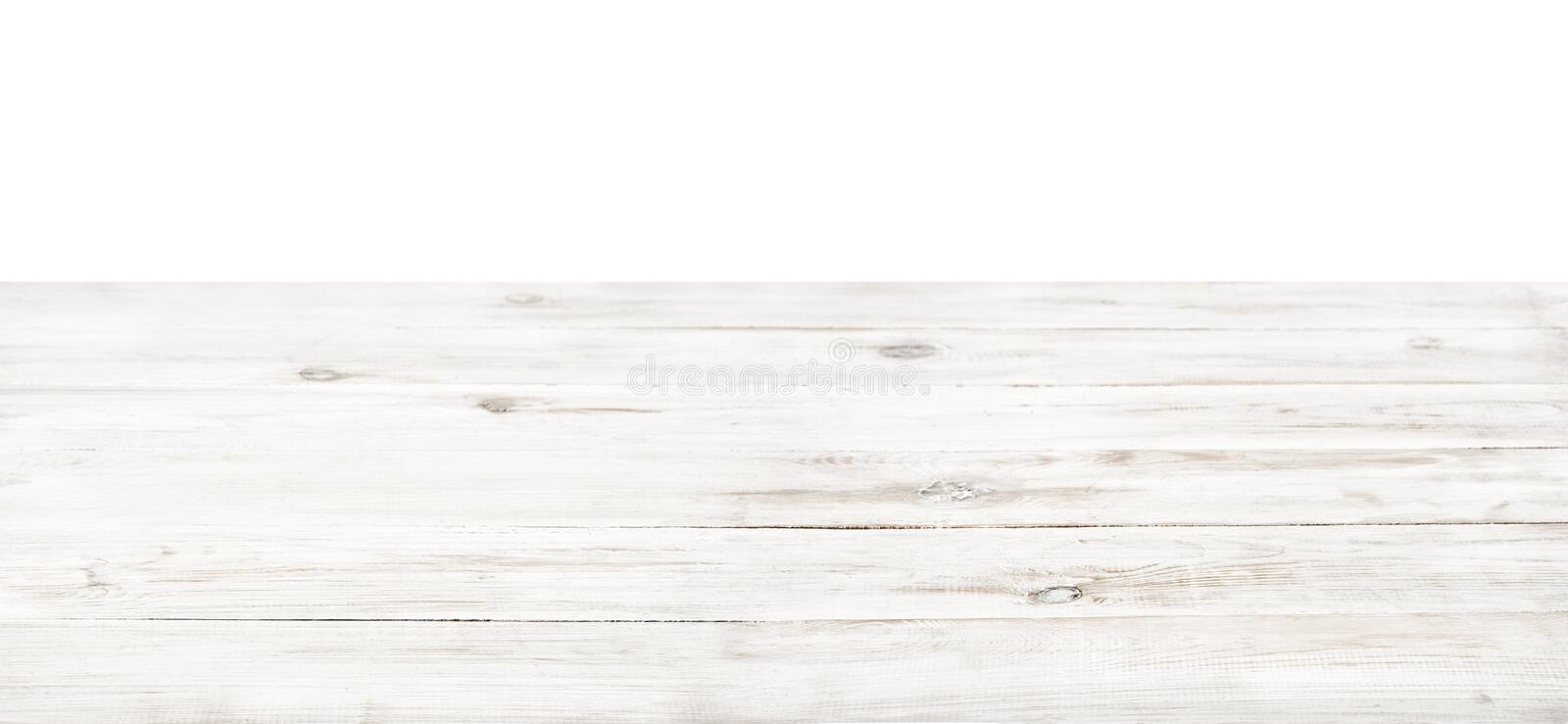 Empty rustic white wood table top stock photos
