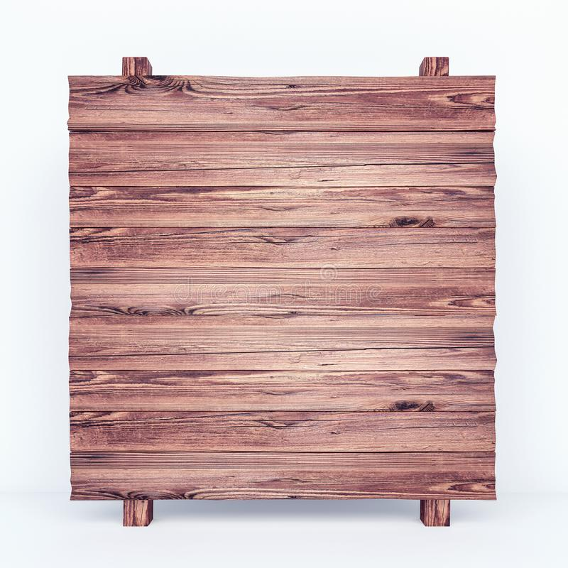 Empty rustic wooden board on white background vector illustration