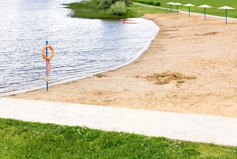 Empty sand beach stock photo