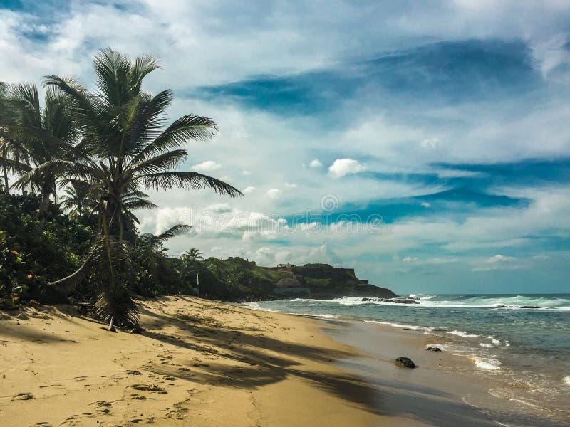An empty sand beach in San Juan, Puerto Rico stock image