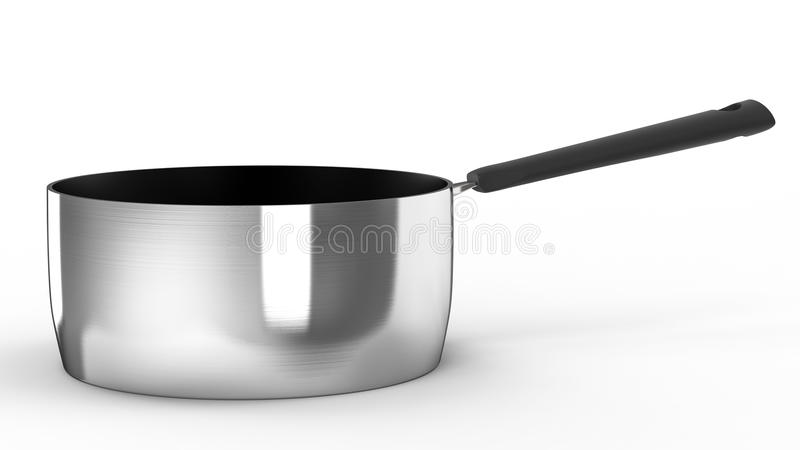 Empty saucepan. 3d rendering empty saucepan with black handle on white background royalty free stock photography