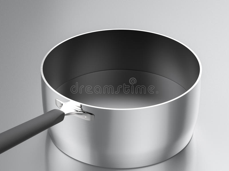 Empty saucepan. 3d rendering empty stainless steel saucepan with black coated royalty free stock photos