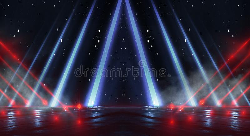 Background wall with neon lines and rays. Background dark corridor with neon light. Abstract background with lines and glow. Light. Empty scene of a show with stock photography