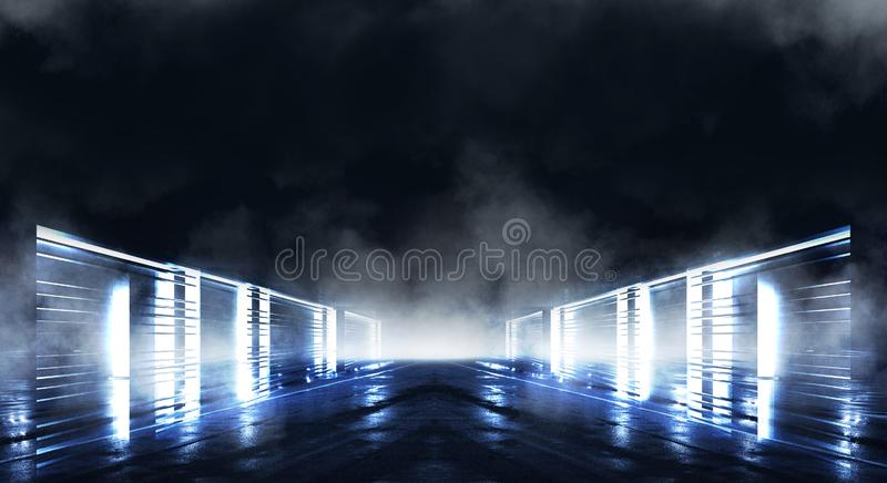 Background wall with neon lines and rays. Background dark corridor with neon light. Abstract background with lines and glow. Light. Empty scene of a show with royalty free stock images