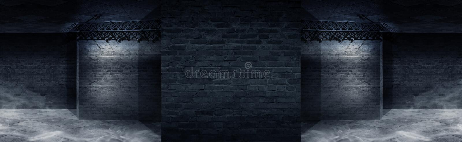 Background of an empty corridor with brick walls and neon light. Brick walls, neon rays and glow stock illustration
