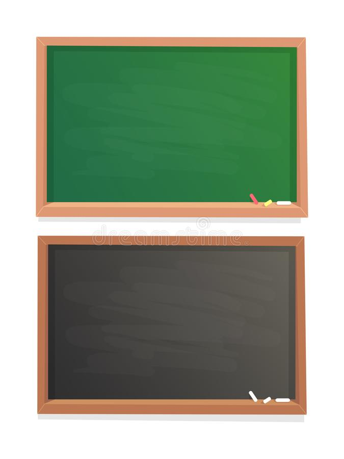 Empty school chalkboard. Black and green chalk blackboard in wooden frame isolated vector background stock illustration