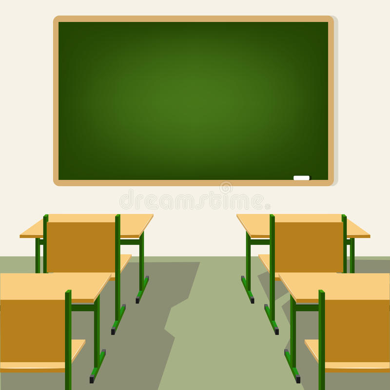 Blackboard Innovative Classroom ~ Empty school classroom with blackboard and desks stock