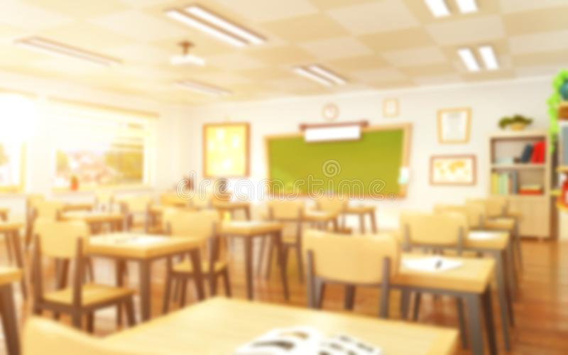 Empty school classroom in cartoon style. Education concept without students. Back to school. Education concept without students. 3d rendering interior royalty free stock image