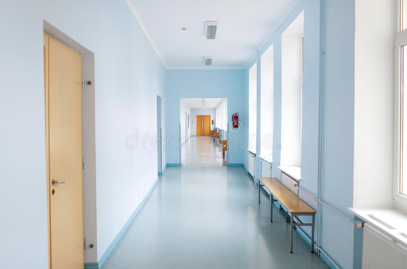 Empty school corridor stock photography
