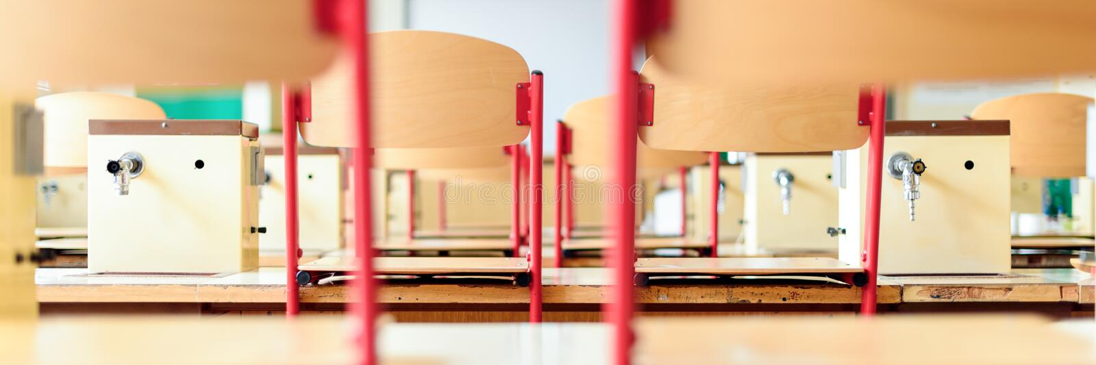 Empty science laboratory classroom. Education concept stock photography