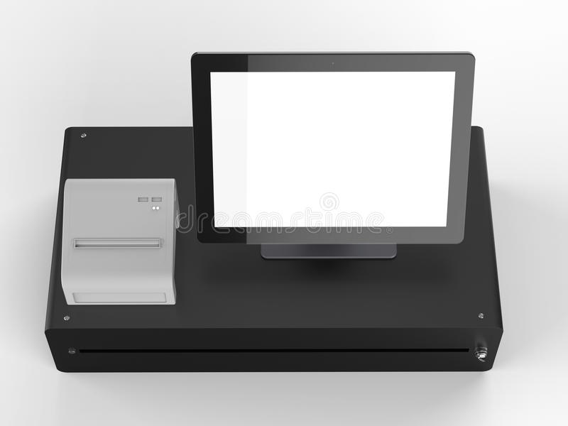 Empty screen cashier machine. 3d rendering empty screen cashier machine or cash register royalty free stock image